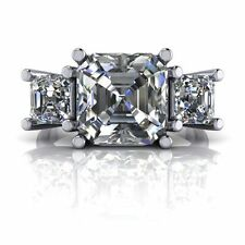 4Ct Asscher Cut Three Stone Engagement Wedding Ring 925 Sterling Silver