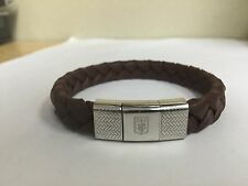ERMENEGILDO ZEGNA BRAIDED BROWN LEATHER BRACELET