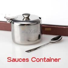 XD#3 NEW  Mini Stainless Steel Pot Tea Sauces Coffee Jam Lid Salt Spoon Bowl