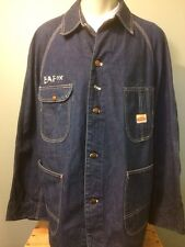 Vtg Pennys Pay Day Work Chore Farm Barn Jacket Coat Denim Jean Railroad Engineer