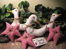 PRIM  COUNTRY CHRISTMAS CENTERPIECE GEESE STAR ORNIES BOWL FILLERS HOME DECOR