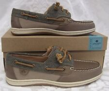 NEW WOMENS SPERRY TOPSIDER LEATHER SONGFISH WAXY CANVAS TAUPE WOMEN SIZE 8