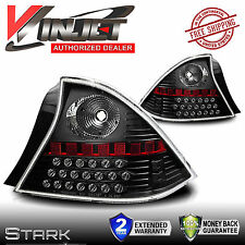 01-03 Honda Civic LED Tail Lights 2DR Coupe Black Clear Lens Rear Lamps - PAIR