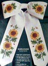 Sunflower Cross Stitch Kit Bow Ties Door Hanger Golden Yellow Flowers