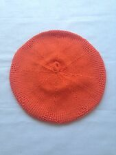 Girls Orange Knitted Hat Cap Beret With Rhinestones