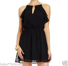 NWT bebe black ruffle halter cutout flare embellished v neck top dress sheer M