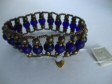 ~MARIA~CALDERARA~VINTAGE~BLUE~BEADED~VINTAGE~BRACELET~NEW WITH TAGS~