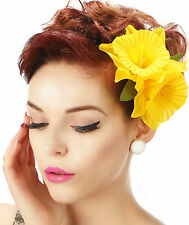 Rockabilly 50s Pin up Yellow double daffodil flower hair flower clip