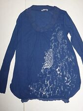 *NWT* ANGELA MELE MILANO WOMENS BLUE LONG SLEEVE BUTTERFLY TOP LARGE J227 A1