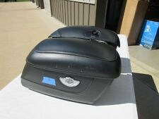 HARLEY DAVIDSON 100TH ANNIVERSARY LOCK LEATHER COVERED RIGID SOFTAIL SADDLEBAGS