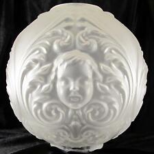 "OLD 10"" CHERUBS / ANGEL BALL SHADE 4"" fitter glass for oil,banquet, GWTW lamp"