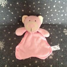 UNEEDA Pink Teddy Bear Velour Baby Blanket Comforter Soft Toy