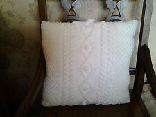 """Hand knitted ARAN Cushion cover 18""""x18"""" WHITE"""