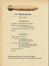 Hindenburg Rigid Airship Menu In German Reprint On Original Period 1937 Paper