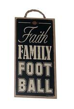 "Faith Family Football 5"" x 10"" Novelty Wood Wall Plaque Sports Sign for Bar"