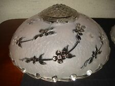 """Vtg. PINK & CLEAR FLORAL Depression 3-Chain 10"""" GLASS CEILING LAMP SHADE 1 of 2"""