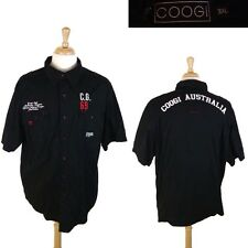 COOGI Short Sleeve Button Front MILITARY SHOULDERS Black EMBROIDERED Shirt 3XL