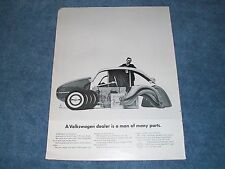 "1962 Volkswagen Bug Vintage Ad ""A Volkswagen Dealer is a Man of Many Parts"""
