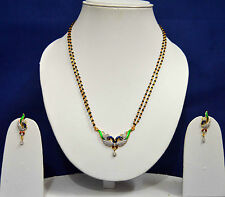 Black Beads Chain Gold Peacock Mangalsutra Fashion Jewellery AD Earring Sets 303