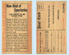 Clear Sight Glasses Spectacle Chicago Illinois Direct Mail Advertising Postcard