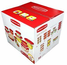 New Rubbermaid 50 piece Clear Plastic Food Storage Containers Red Easy Find Lids