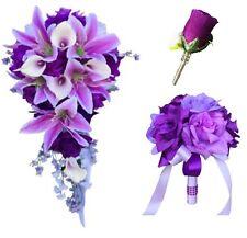 4pc set:2 Bouquet 2 boutonnieres (Buttonholes)Cascade Tear Drop silk flowers