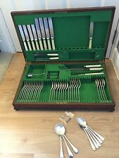 BONE EFFECT By JAMES RYALS & CO LTD Silver Service Cutlery Large wooden box +key