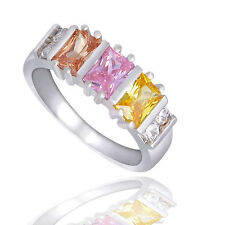 Silver Plated Colourful Crystal CZ Baguette Square Cocktail Ring Size R/8.5 1158
