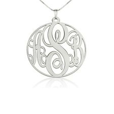Sterling Silver 1″ Circle Monogram Necklace - Personalized Initial Name Pendant