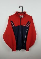 MENS VTG RETRO URBAN ATHLETIC SPORTS RED ADIDAS ZIP-UP TRACKSUIT TOP JACKET S/M