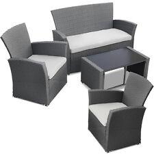 Salon de jardin ensemble canapé fauteuil chaise table résine tressée rotin GRIS