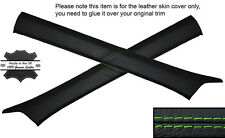 GREEN STITCH 2X A POST PILLAR SKIN COVERS FITS MERCEDES W124 E CLASS 83-95