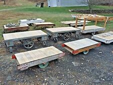 ANTIQUE INDUSTRIAL RR FACTORY CART VTG COFFEE TABLE W/ CAST IRON METAL WHEELS