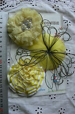YELLOW Feather Facinator, Fabric & Organza 3 Flower Pk - 70-75mm Manor House