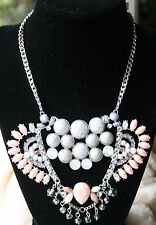 Silvertone Multi-Color Casted Crystal & Stone Frontal Statement Necklace NWT $38