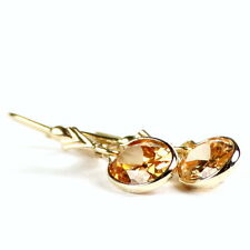 E101, 10x8mm Champagne Cubic Zirconia, 14KY Gold Leverback Earrings-Handmade