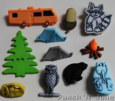 CAMPING - Camper Van Tent Torch Camp Fire Tree Animals Novelty Craft Buttons