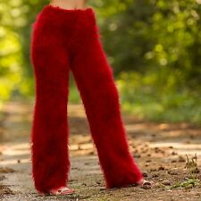 RED hand knitted mohair pants fuzzy trousers fluffy leg warmers SUPERTANYA S M L