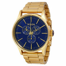 Nixon Sentry Chronograph Blue Dial Gold-Tone Steel Mens Watch A3861922