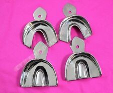 DENTAL STAINLESS STEEL NON-PERFORATED IMPRESSION TRAYS AUTOCLAVABLE SET OF 4