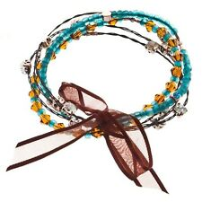 5PC Brown Blue Turquoise Amber Bead Black Clear Rhinestone Whisper Bracelet Set