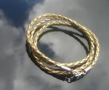 3mm Gold Faux Leather Cord Braided Bracelet or Necklace 925 Silver Clasp Ends