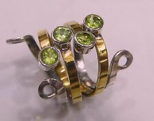 6.90 Gram Natural Peridot Two Ton Ring Gemstone 925 Solid Sterling Silver R-590