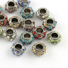 50pcs Mixed Rondelle Silver Plated Rhinestone European Beads Charms 11~12x6mm