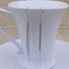 Simple Tassel Earrings In 925 Sterling Silver Plate, 55mm Hook Drop Dangle 5.5cm