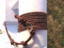 AUTHENTIC Chan Luu GUN METAL NUGGETS/BROWN Fine Leather  5X Wrap BRACELET CL12B