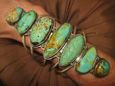 """NAVAJO LYDIA BEGAY  EXTRA LONG TURQUOISE CUFF, 5.5"""" face, Sterling Silver"""