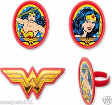 Wonder Woman Amazing Amazon Cupcake Rings 24pcs Cake Toppers Party Favors