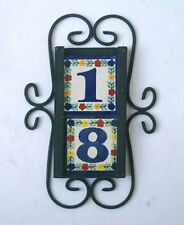 2 Mexican 4x4 tile House Numbers Tiles with Vertical Iron Frame