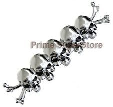 Chrome/Black Eye 3D Skull/ Bones Emblem Self Adhesive Car-Motorcycle Decal /Logo